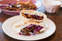 Grilled Eggplant and Chicken Pitas with Tzatziki Recipe