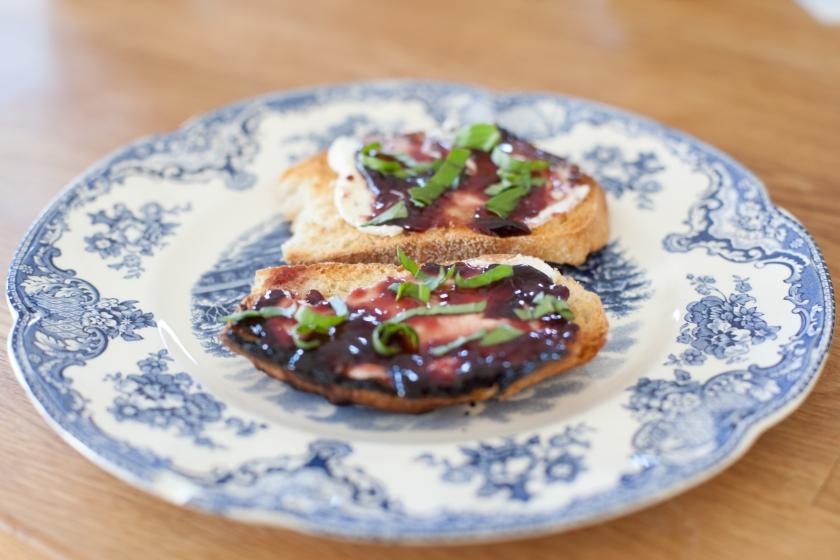 Sourdough Toast with Mascarpone, Blackberry Jam and Basil Recipe