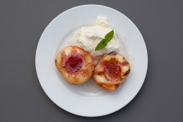 Grilled Peaches with Mascarpone and Peach Simple Syrup