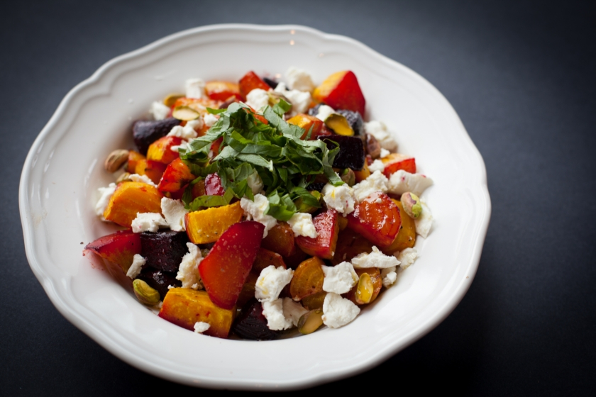 Roasted Beet Salad with Goat Cheese, Pistachios, and Basil Recipe