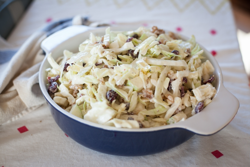 Fennel Coleslaw with Green Apple, Dried Cranberries and Walnuts