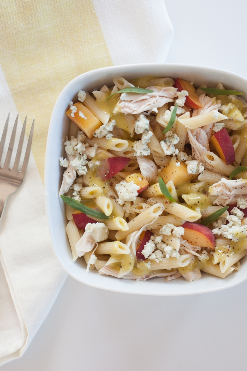 COLD PENNE WITH ROASTED CHICKEN, PEACHES, GORGONZOLA AND TARRAGON