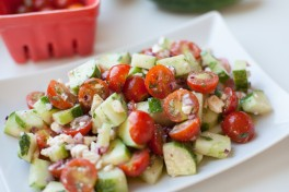 CUCUMBER AND CHERRY TOMATO SALAD WITH RED ONION AND TARRAGON