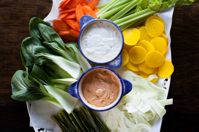 Crudités with Harissa Aioli and Caper Buttermilk Dip