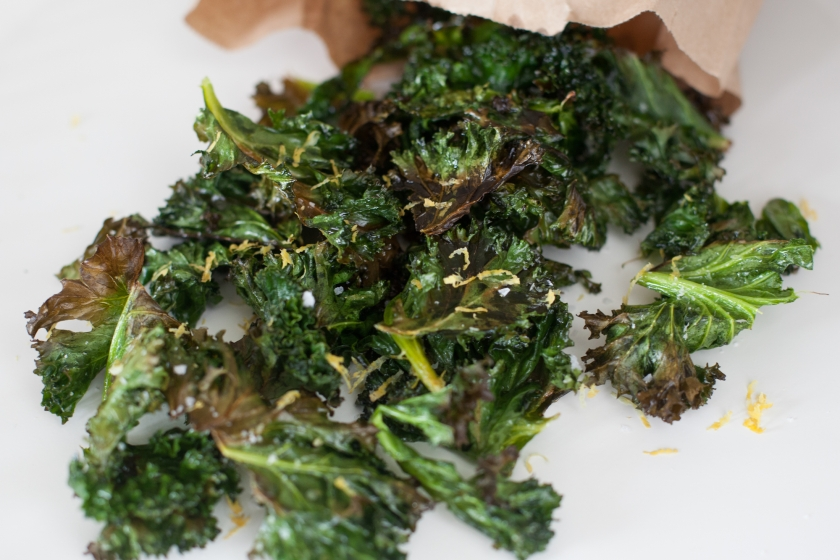 KALE CHIPS WITH LEMON ZEST AND FLAKE SALT