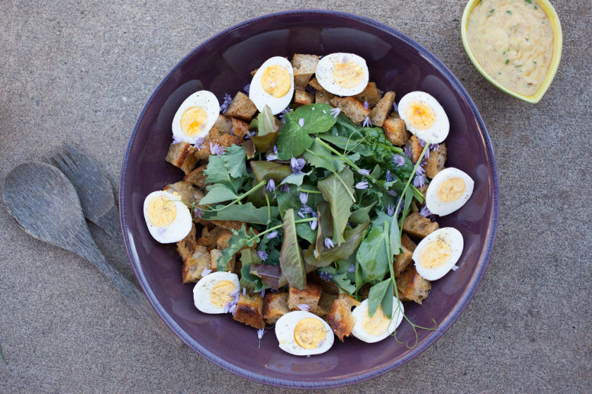 SALAD WITH HARD BOILED EGGS, GARLIC CROUTONS, FRIED CAPERS, AND BREADCRUMB DRESSING